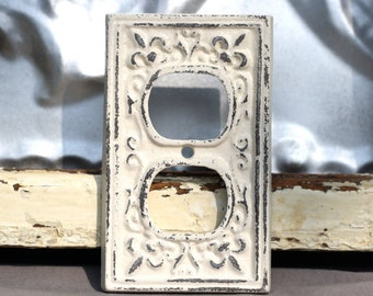 outlet cover/ cast iron fleur de lis/ creamy white shabby chic outlet / light switch cover/ lighting/ home decor/ french country chic