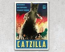 Custom Cat Portrait - Vintage Godzilla Poster