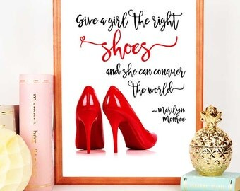 Red Shoes Party Decoration, Shoes Backdrop, Digital Download, Fashion Art, Marilyn Monroe Quote, Printable Wall Decor