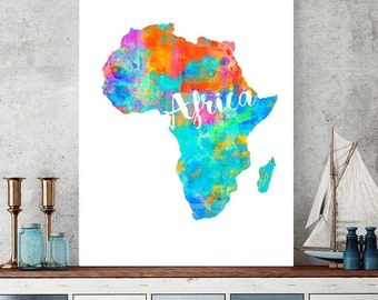 Africa Map Print, Africa Printable Map, African Gift, Wall Art Decor, Watercolor Map Print, Africa Instant Download