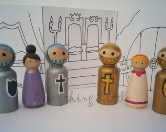 Knights and Ladies Wooden Peg Dolls, Wooden Peg Dolls, Handpainted