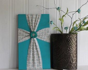 Fabric Wood Cross. Fabric Cross. Wall Decor. Decorative Cross. Fabric on Wood