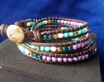 Teal and Lavender 5 Wrap Bracelet