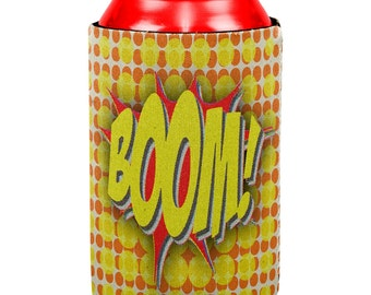 BOOM POW Comic Book Super Hero All Over Can Cooler