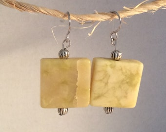 Green marble earrings