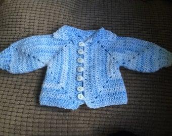Baby boy Crocheted cardigan. Baby cardigan. Solid granny square cardigan.