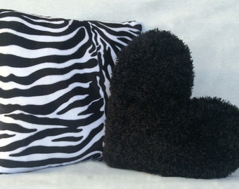 Decorative Pillow Set 16x16 in. Decorative Pillow Set Faux Fur Zesty Zebra and 13x15 in. Faux Fur Heart Night Black