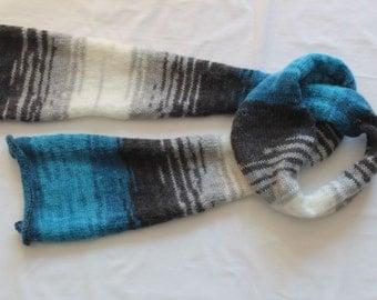 Blue gray multi-colored handknit Scarf