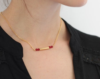 bar pendant, minimalist necklace, gift for her, red and gold necklace, delicate gold necklace