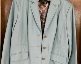 Soft Blue Women's Leather Blazer