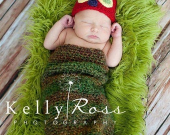 Crocheted caterpillar hat and cocoon photography prop