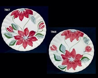 "Blue Ridge Plate POINSETTIA 9.25"" Lunch (Buy 1 or 2) Southern Potteries Colonial Dinnerware Red Flower (B16) 7867 7868"