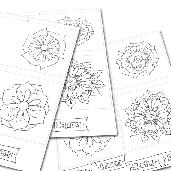 Greeting Cards Printable Adult Coloring Cards By MimArtShapes