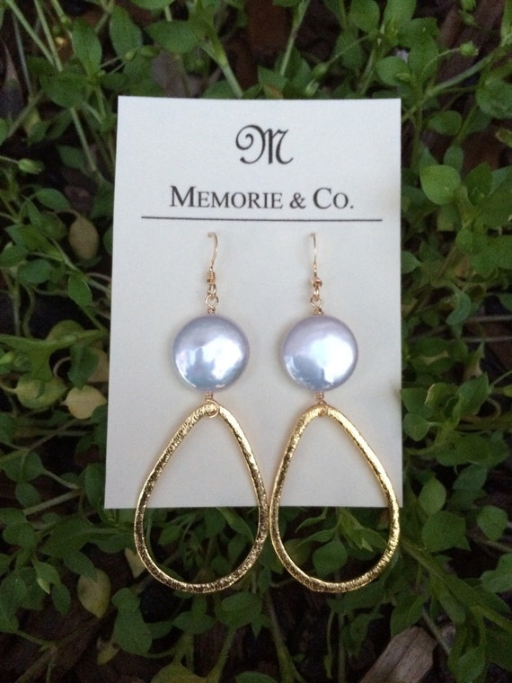 Gold Teardrop Link Earring with Freshwater Coin Pearls