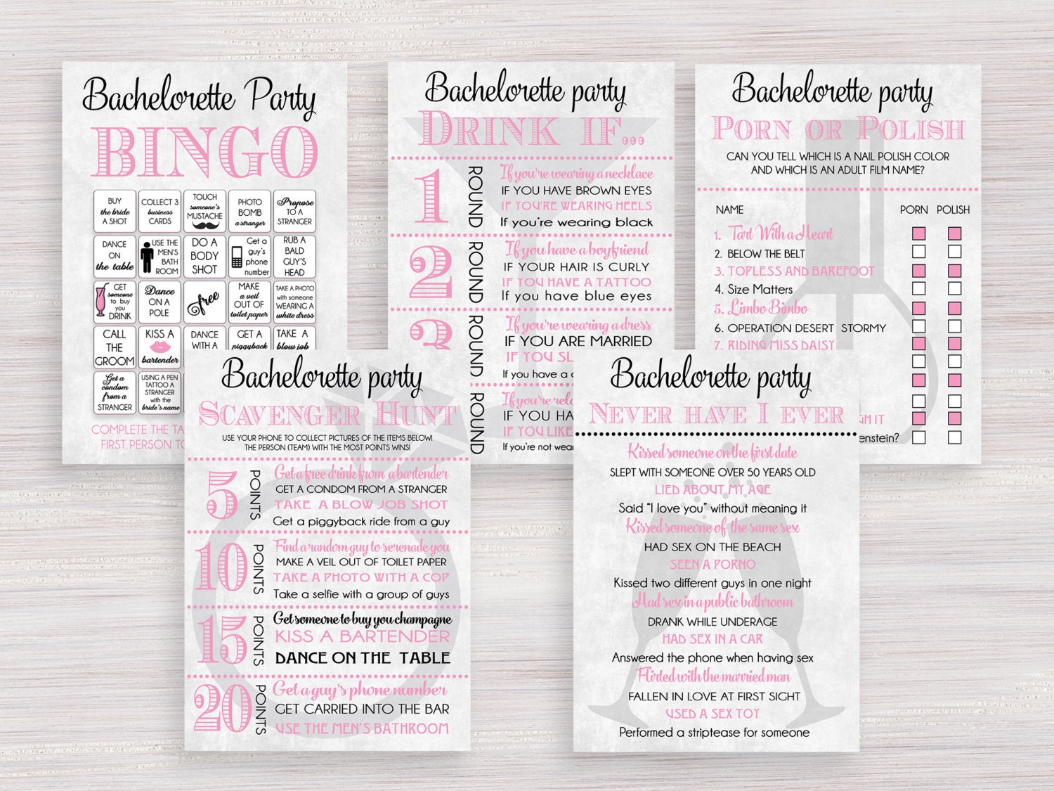 Bachelorette party games package funny hens party games set for Bachelorette party decoration packages