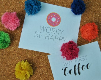Pom Pom Push Pins / Set of Six / Office Decor / Command Centre / Hostess Gift / Party Favour