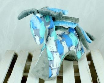 Sensory Infant toy Horse Grey Blue - Nuva Handmade Soft Mascot for Baby Teething Grasping Cuddly Plush Toy  Newborn Gift Baby shower gift