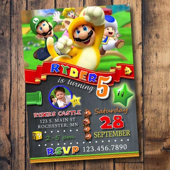 super mario invitation with photo mario invite mario