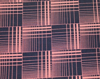 Pink and Black Grid Plaid Quilting Fabric 1/2 Yard