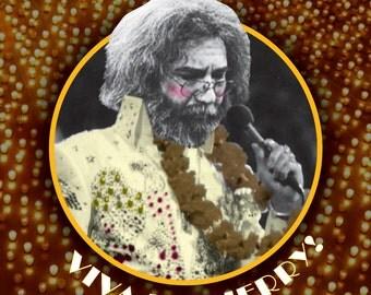 Viva Las Jerry! Sticker FREE SHIPPING!!! (Jerry Garcia Sticker, Elvis Presley Sticker, Grateful Dead Sticker, Las Vegas Sticker)
