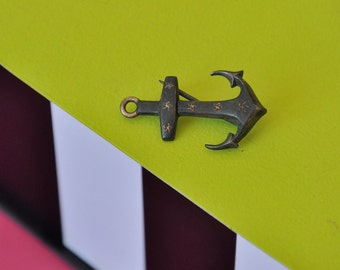 Vintage boat anchor brooch 6 stars / sailor
