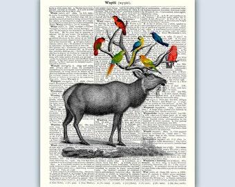Wapiti Print, Wapiti Parrots Poster, Animals Art Prints, Kids Wall Art, Nursery Room, Wapiti Wall Decor, Collage Wapiti Parrots
