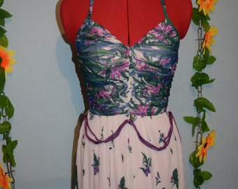 vintage 70s halter neck grecian maxi dress
