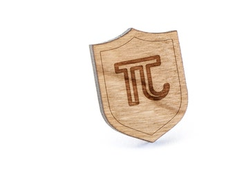 Pi Lapel Pin, Wooden Pin, Wooden Lapel, Gift For Him or Her, Wedding Gifts, Groomsman Gifts, and Personalized