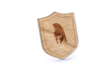 Spartan Helmet Lapel Pin, Wooden Pin, Wooden Lapel, Gift For Him or Her, Wedding Gifts, Groomsman Gifts, and Personalized