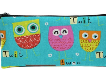 child Kit for pencils in OWL fabric turquoise OWL