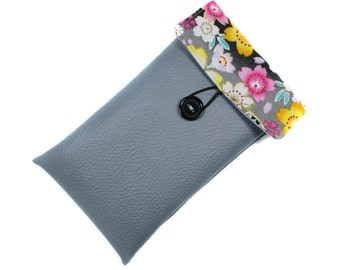 6 woman grey imitation leather iphone case and Japanese fabric