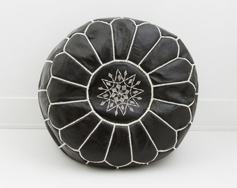 Moroccan Leather Pouf Ottoman, Midnight Black