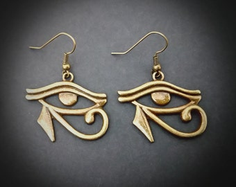 Eye Of Horus Wadjet Wedjat Bronze Earrings. Egyptian Protection, Power And Good Health Symbol. Illuminati.