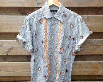 SALE - MENS   Vintage grey Aztec print shirt   Size M - SALE