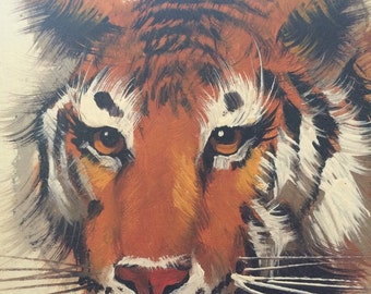 Vintage Tiger Portrait Oil Painting in Faux Wood Frame Ready to Hang