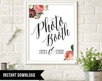 50% Off, Photo Booth Wedding Sign, Instant Download, DIY, Photobooth Poster, Vintage Floral, Printable Signage, Digital, Grab a Prop, PDF