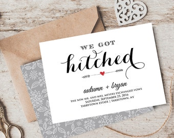Elope Announcement, Wedding Elopement Printable, We Got Hitched, Instant Download, Editable Text, PDF Template, Digital File