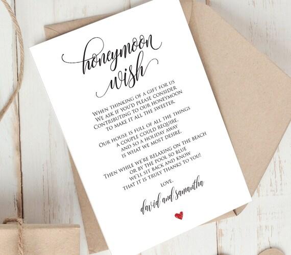 Wedding Gift Poems Honeymoon: Honeymoon Wish Printable Card Wedding Wishing Well Insert