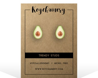 Avocado Stud Earrings - Vegan  Stud Earrings - Fruit  Stud Earrings - Nickel-free  Stud Earrings