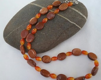 Glass gold stone & amber crystal necklace