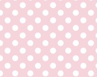 Riley Blake Medium Dot, White on Baby Pink, fabric by the yard