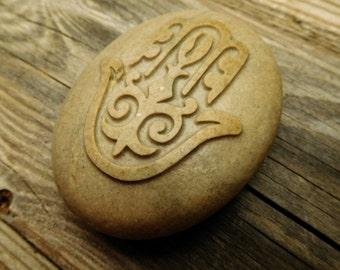 Hamsa hand  Engraved pebble - Custom gift - Personalized stone - Talisman - Zen decor
