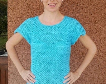 Light Summer Knitted Top, Microfiber Knit Blouse, Short Sleeves Sweater