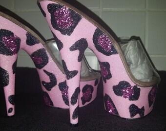 Pretty Pink Leopard Print Glitter Exotic/Pole Dancer/ Stripper Heels (Pleaser 6in Stilettos)