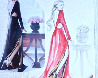 Watercolour Fashion Illustration - Red Dress, with Free Shipping Standard Delivery