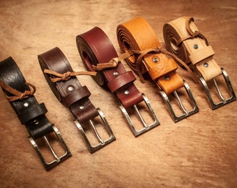 Hand made leather belt, tailor made