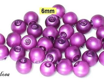 30 glass clear matte beads 6 mm purple, purple (806.51.1)