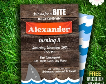 Shark pool party invitation, Birthday invitation, rustic wood invite, Printable Self Editable PDF File A143