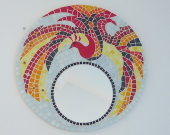 "Round mirror mosaic ""the phoenix"""