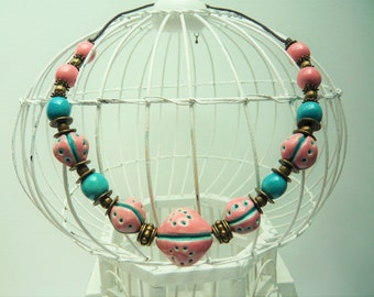 Romantic pink and turquoise ethnic necklace with beads handmade